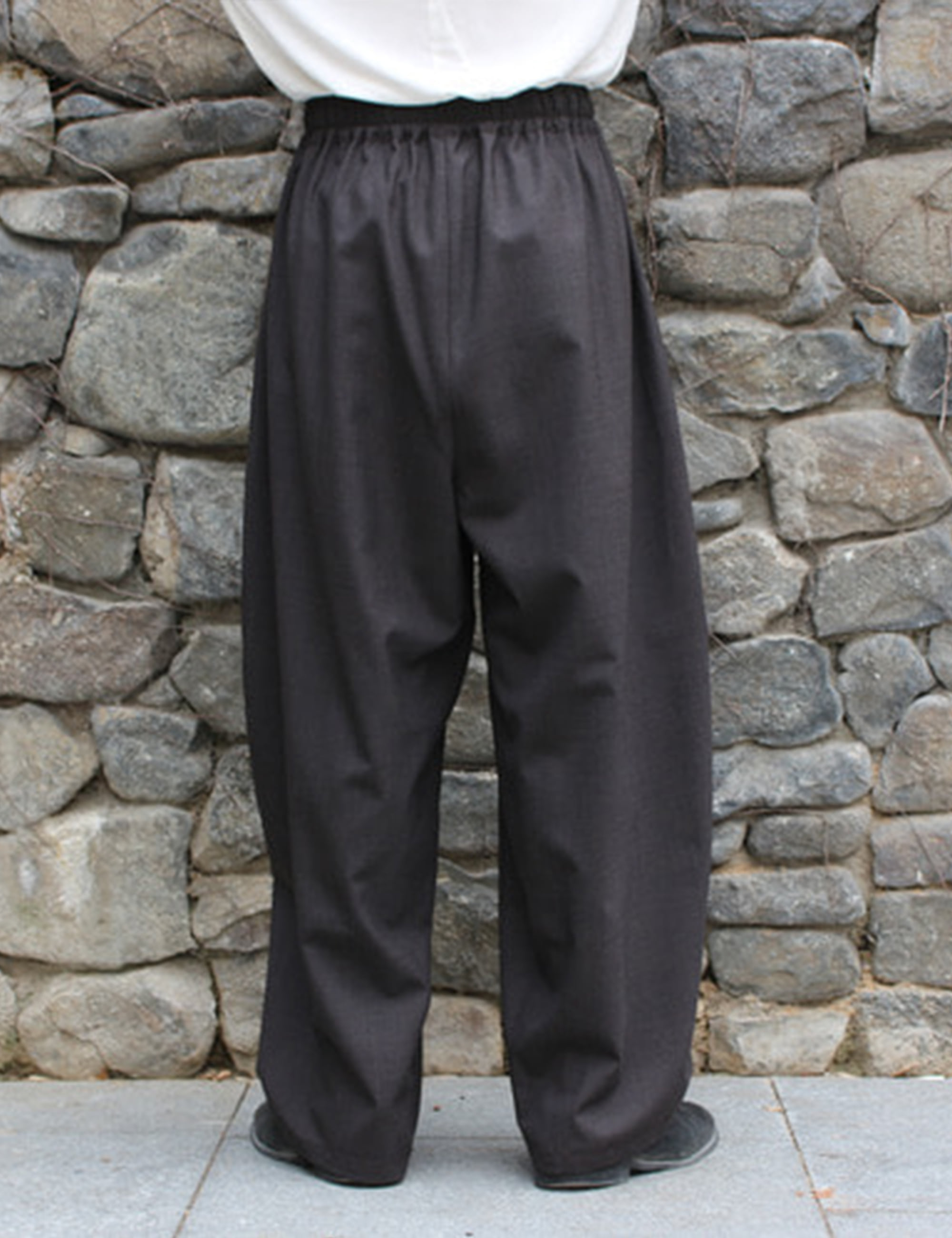 WORSTED WIDE EASY PANTS_BROWN