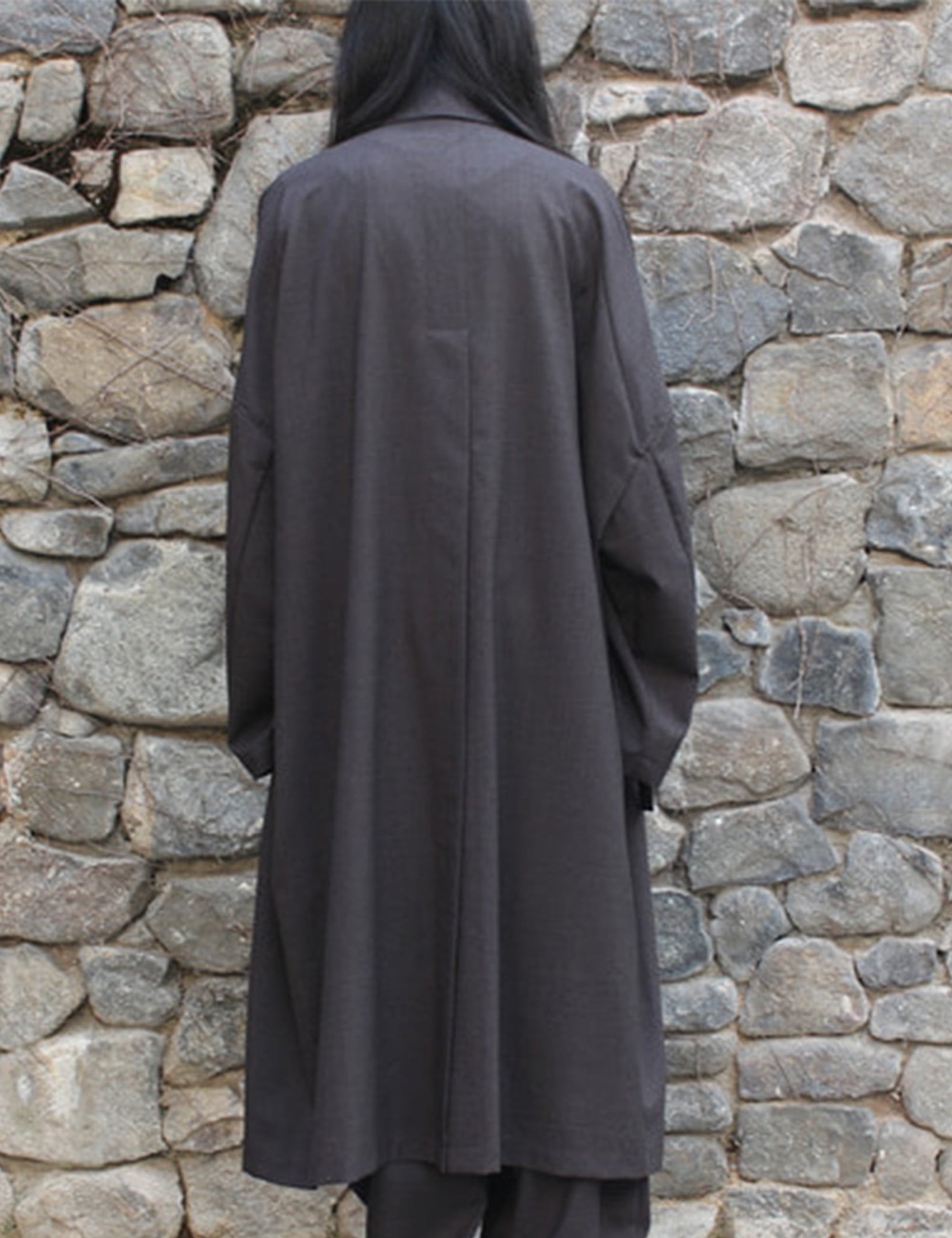 WORSTED WIDE LONG COAT_BROWN