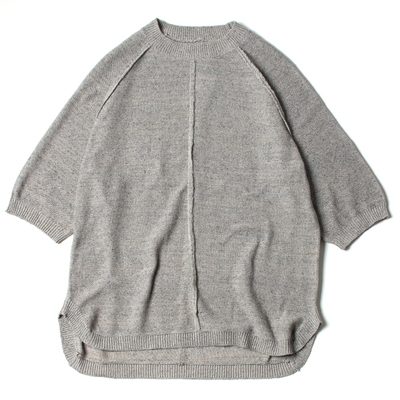 C / SI NEP YARN S/S KNIT TOPS_MIX GRAY