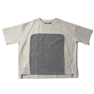 LINEN BLOCK BIG TEE_GRAY
