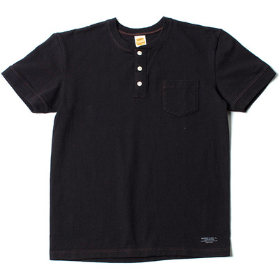 VOLUME COTTON HENLEY TEE_BLACK