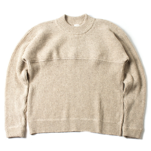 KNITTED CREW NECK SWEATER_SAND