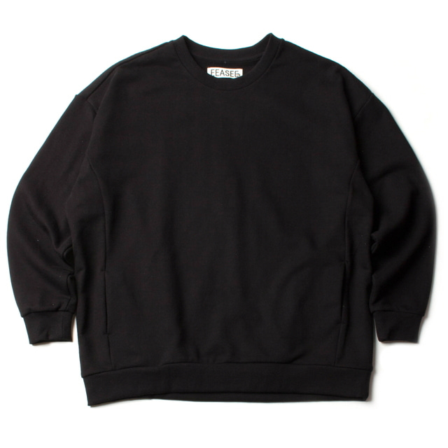 SIDE POCKET WIDE WHARF SWEAT_BLACK