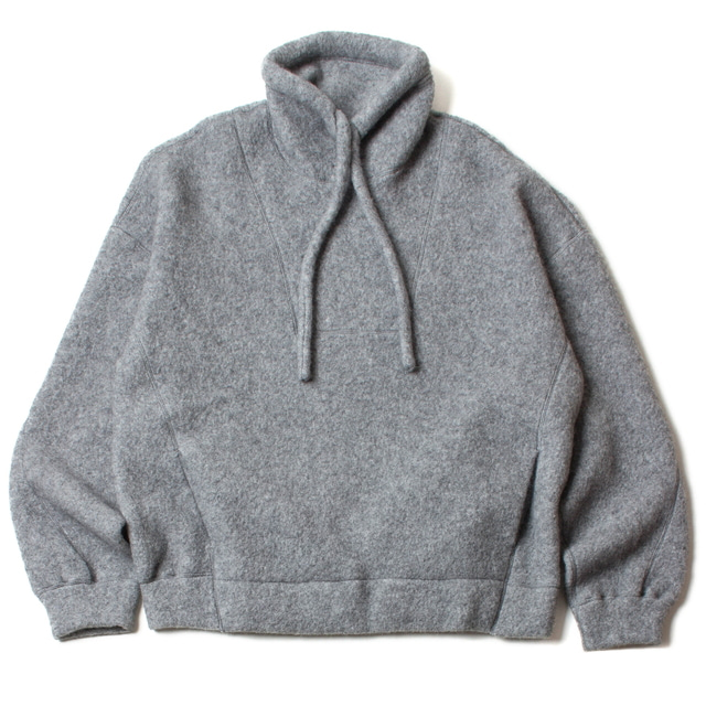 W/AG/N FLEECEHI NECK TOPS_GRAY