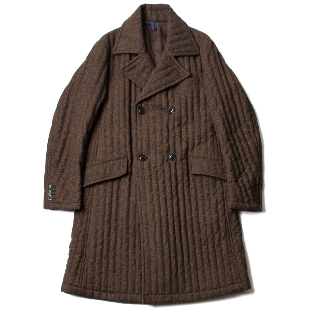 QUILTED DOUBLE_BREASTED COAT_KHAKI