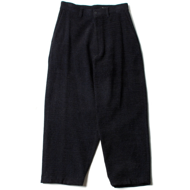 BRITISH WOOL WIDE PANTS_NAVY