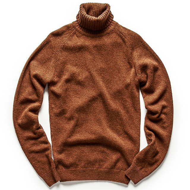 SINGLE STITCH TURTLENECK SWEATER_BROWN