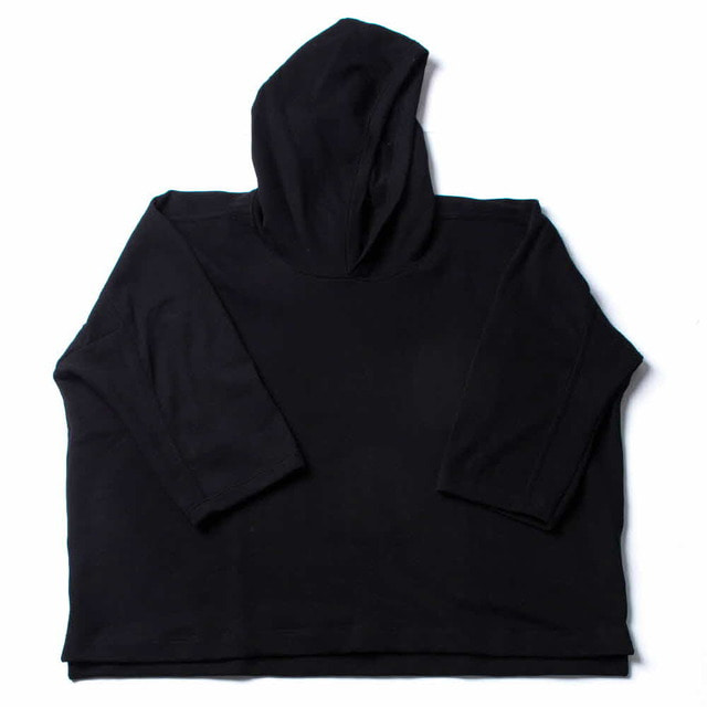 3/4 SLV WIDE HOODED_BLACK