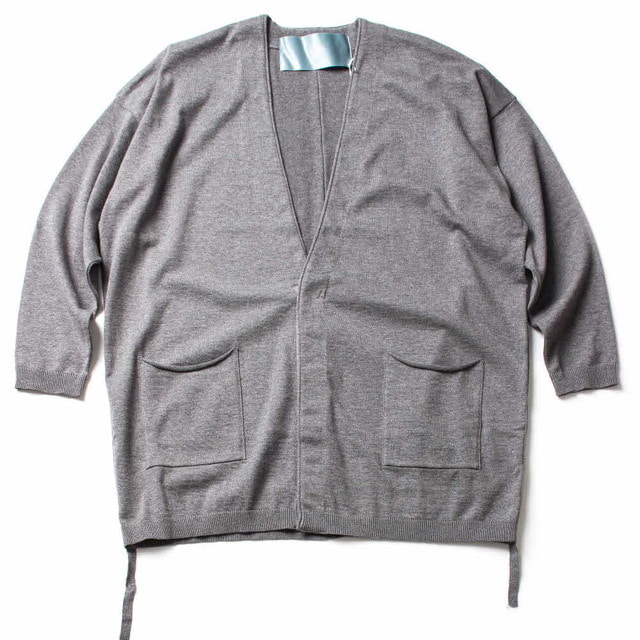 SIDE CORD KNIT CARDIGAN_GRAY