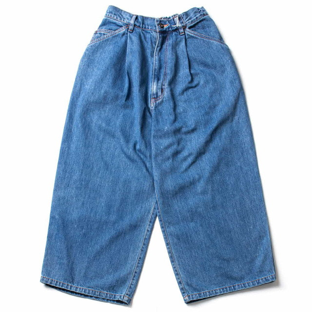 12OZ DENIM EASY CROPED WIDE PANTS_BIO WASH