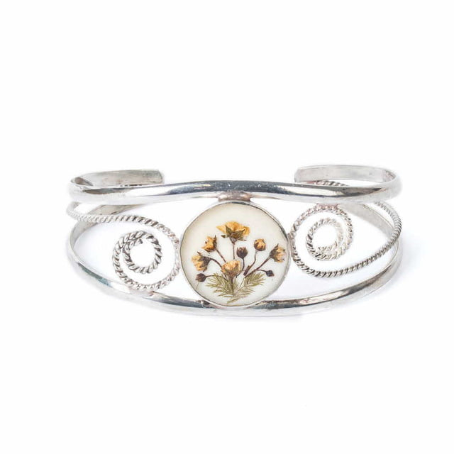 FLOWER WIDE BRACELET_WHITE