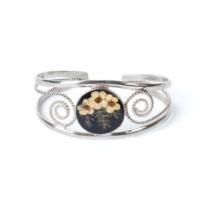 FLOWER WIDE BRACELET_BLACK