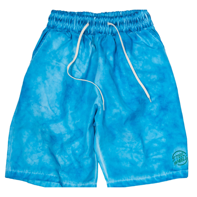 HAND GARMENT DYEING SHORT_BLUE