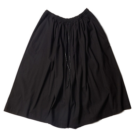 GATHERED WIDE SKIRT PANTS_BLACK