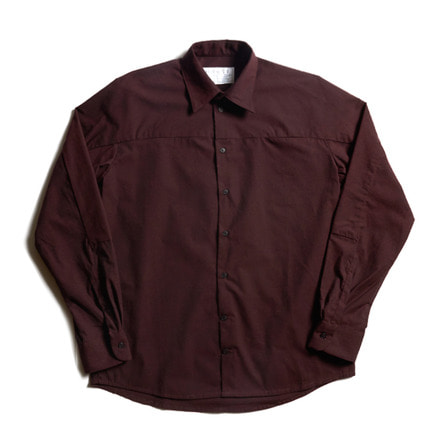 LOOSE CUT SHIRT WITH SLEEVE INSERT_OXBLOOD