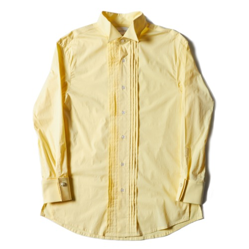 PLEATED TUXEDO SHIRT_LIGHT YELLOW