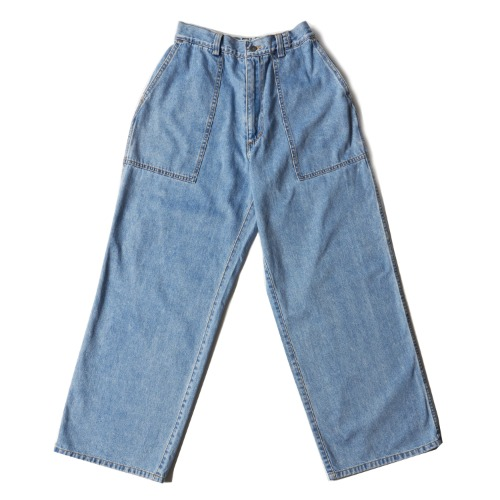 INDIGO BLEACH WIDE JEANS