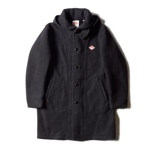 WOOL MOSSER HOODED COAT_CHARCOAL