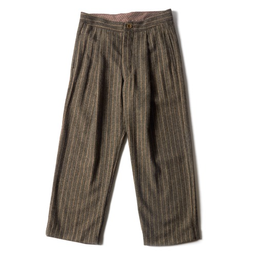 WOOL PLEATS PANTS_NEW BROWN STRIPE