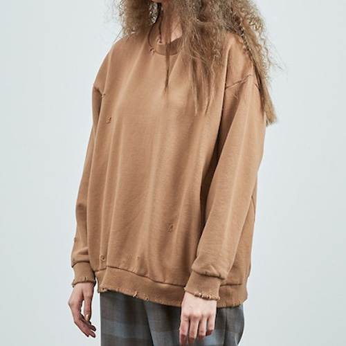 DAMAGE SWEAT SHIRTS_BROWN