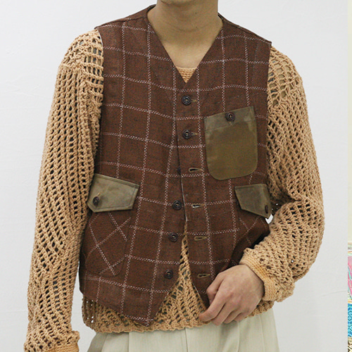 THREE POCKET WAISTCOAT_ORANGE CHECK