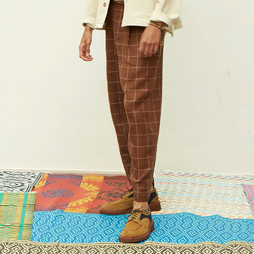 TWO PLEAT TROUSER_ORANGE CHECK