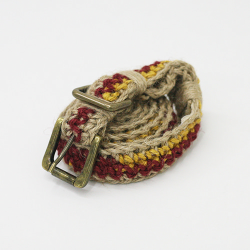 JUTE CROCHET BELT_NATURAL/YELLOW/RED