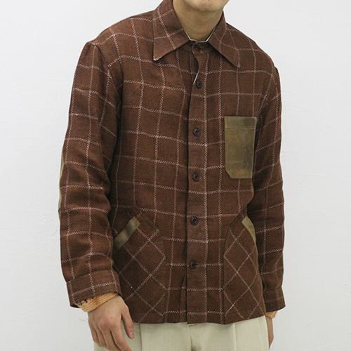 YUSSEF SHIRT JACKET_ORANGE CHECK