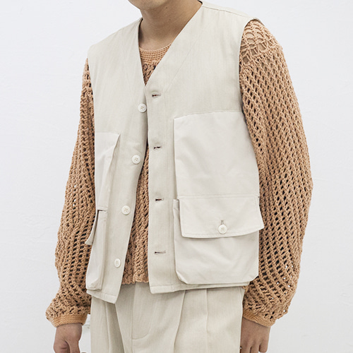MILITARY WAISTCOAT_NATURAL DENIM