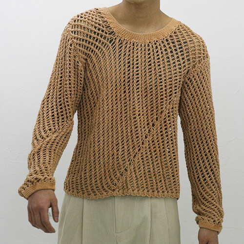 HAND KNITTED GARMENT DYED LONG SLEEVE VEST_LIGHT ORANGE