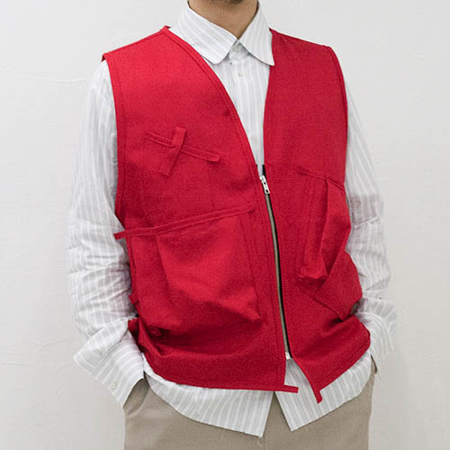 PURSE VEST COTTON WORKER TWILL_RED