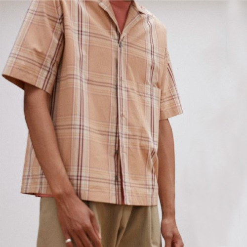COCKLE MADRAS SHORT SLEEVE CAMP COLLAR SHIRT_TAN CHECK