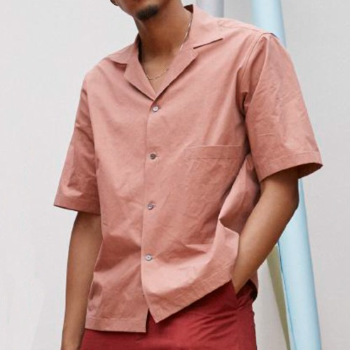 COCKLE PAPER POPLIN SHORT SLEEVE CAMP COLLAR SHIRT_MEDINA PINK