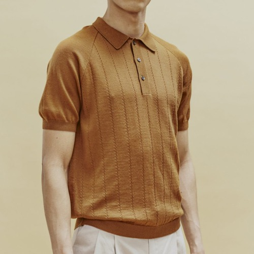 BACCARA KNIT POLO_BROWN