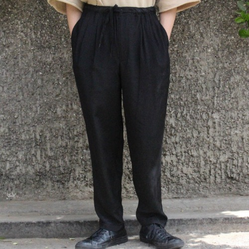 RAYON 2PLEATS EASY PANTS_BLACK