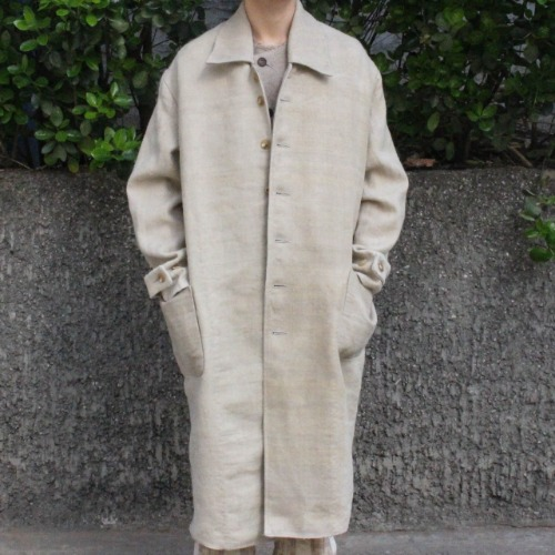 A-LINE MACCOAT_BROWN SACK LINEN
