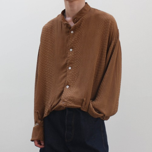 [Re-stock] BOAT NECK EZ SHIRT_BROWN SNAKE SKIN