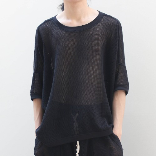 SS MESH WIDE FIT TEE_BLACK