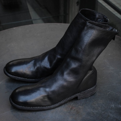 HORSE FULL GRAIN BACK ZIP BOOTS_BLACK