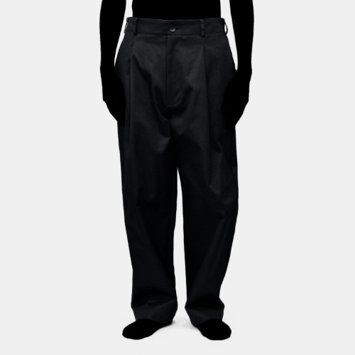TWILL TAPERED WIDE PANTS_BLACK