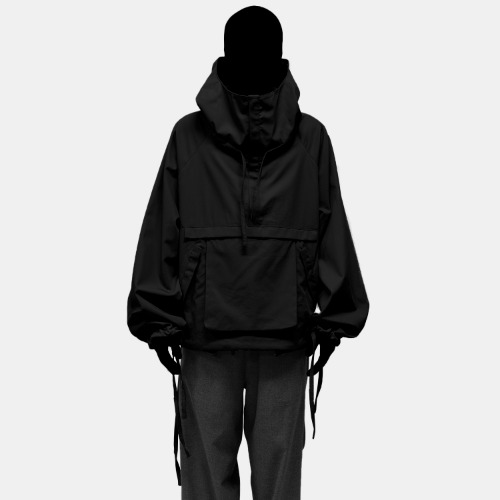 COTTON HOOD ANORAK_BLACK
