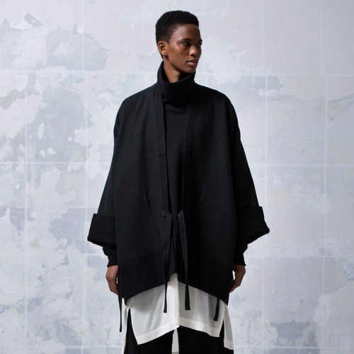 KIMONO#5 - BLACK MELANGE COTTON/WOOL CANVAS
