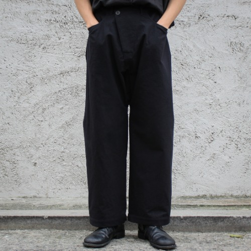 TROUSERS#53 - BLACK MELANGE COTTON/WOOL CANVAS