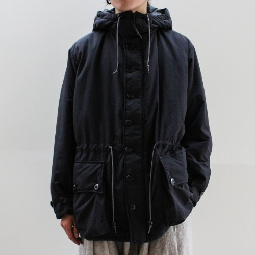 BUTTON FRONT PARKA_BLACK