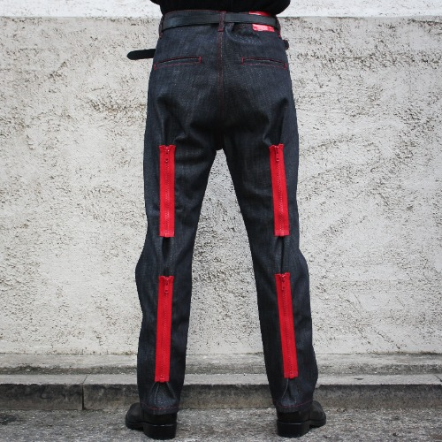 BACK ZIP PANTS_BLACK/RED