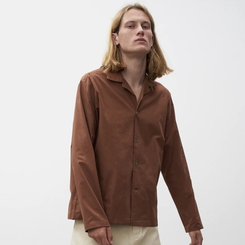 CALICO LONG SLEEVE CAMP COLLAR SHIRT_DARK BROWN