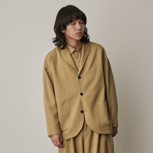 THREE BUTTON JACKET_SAND YELLOW