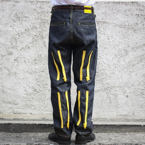 BACK ZIP PANTS_BLACK/YELLOW