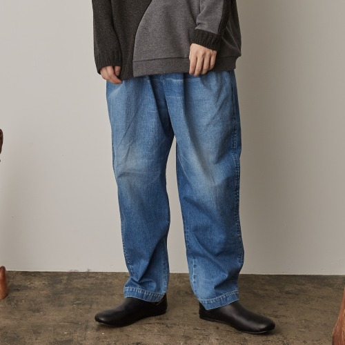 DENIM OVER TUCK PANTS_USED