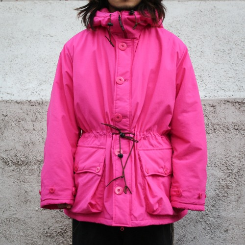 BUTTON FRONT PARKA_FUSCHIA